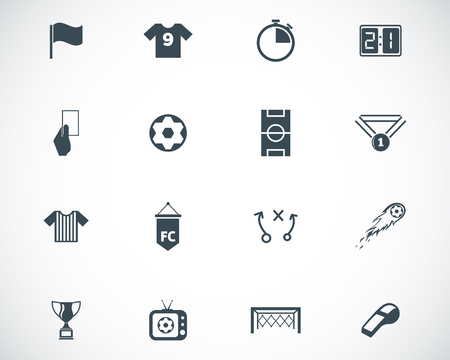 soccer world cup: Vector black  soccer  icons set