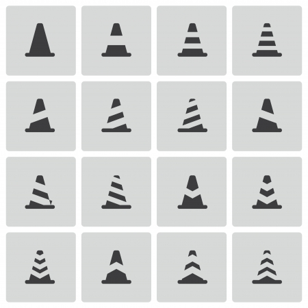 road safety: Vector black traffic cone   icons set