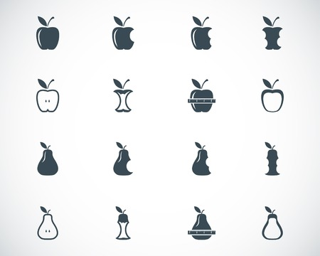 Vector black apple and pear icons set Illustration