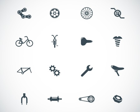 bicycle gear: Vector black bicycle part icons set