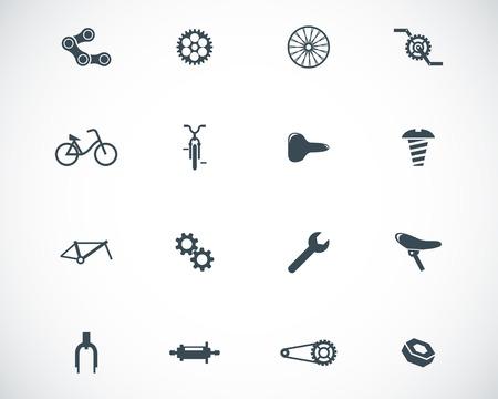 Vector zwarte fiets deel icons set