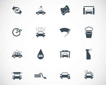 Vector black  car wash  icons set Stock Vector - 23087445