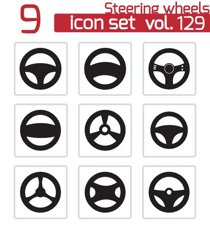 car tuning: Vector black Steering wheels icons set Illustration