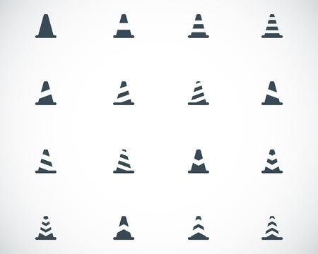 Vector black traffic cone   icons set