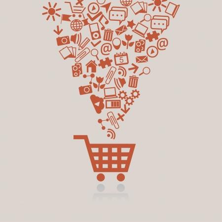 shoppen: Einkaufswagen Konzept