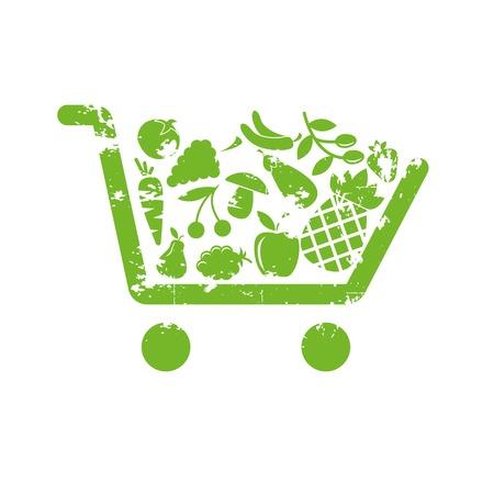 미니: 쇼핑 카트 과일 일러스트