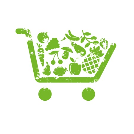 mercearia: Carrinho de compras de frutas Ilustra��o