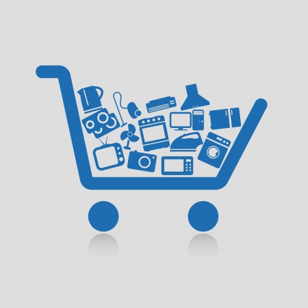 shopping online: Shopping cart concepts Illustration