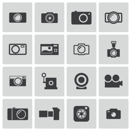 Vector black camera icons set Vector