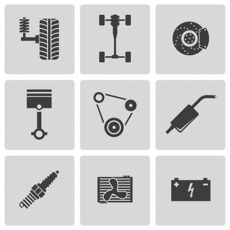 piston: Vector black car parts icons set
