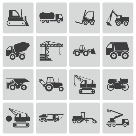 Vector black construction transport icons set Vector
