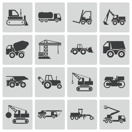 commercial construction: Vector black construction transport icons set Illustration