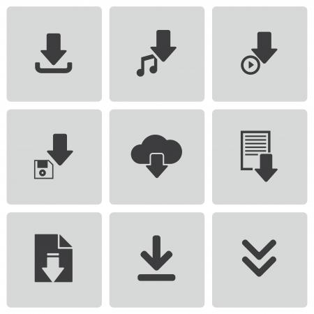 vector download: Vector black download icons set