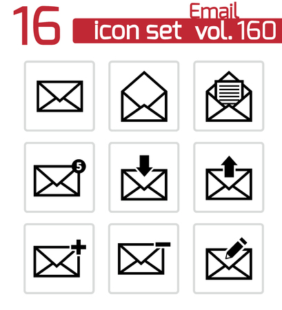 Vector black email icons set Stock Vector - 23357079