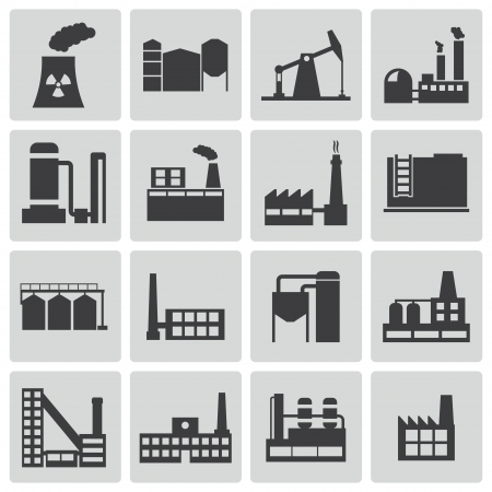 Vector black factory icons set Stock Vector - 23357080