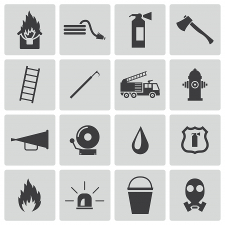firefighting: Vector black  firefighter icons set Illustration