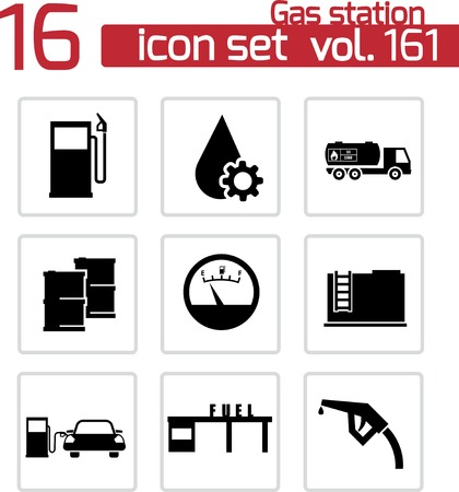 Vector black gas station icons set Stock Vector - 23357105