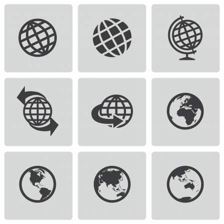 globe icon: Vector black globe icons set Illustration