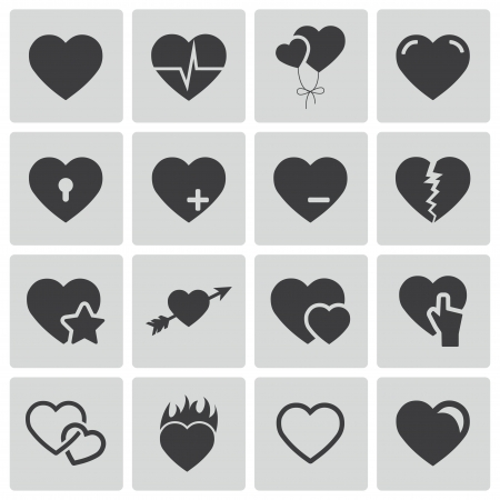 hot couple: Vector black hearts icons set