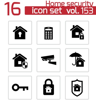 security cameras: Vector black home security icons set