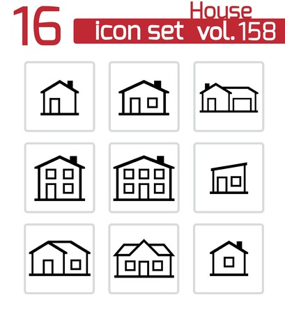Vector black houses icons set Stock Vector - 23357116