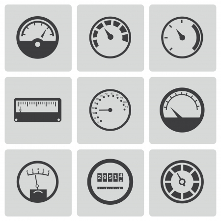 instrument panel: Vector black meter icons set