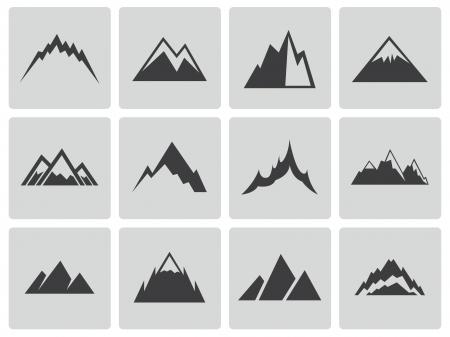 Vector Black Mountains icônes ensemble Banque d'images - 23356008