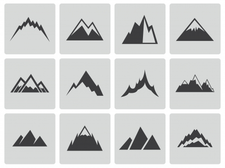 snow capped mountain: Vector black mountains icons set