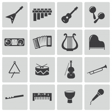 lute: Vector black music instruments icons set