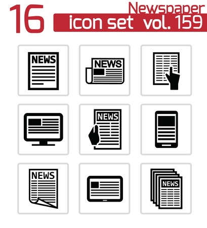 Vector black newspaper icons set Stock Vector - 23356005