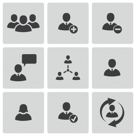 Vector black office people icons set Vector