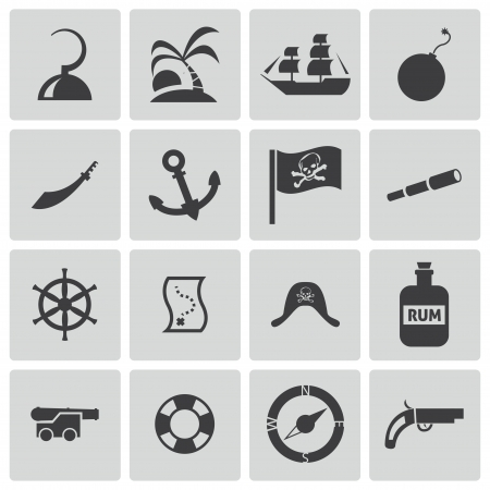 Vector black pirates icons set Vector