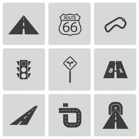 Vector black road icons set Stock Vector - 23356010