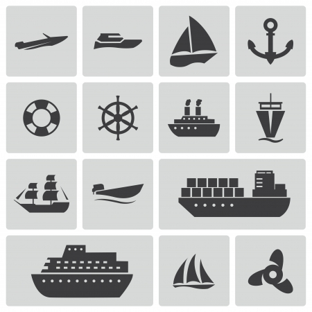 speed boat: Vector black ship and boat  icons set Illustration
