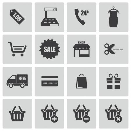 Vector black shopping icons set Vector