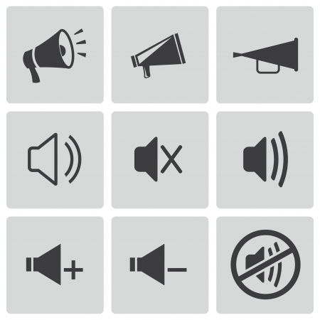 loud speaker: Vector black speaker icons set