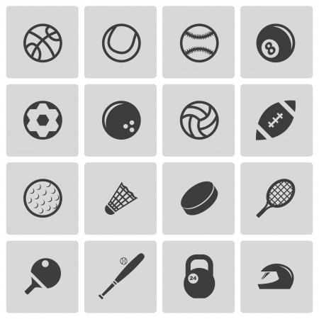 ping pong: Vector negro iconos del deporte fijados Vectores