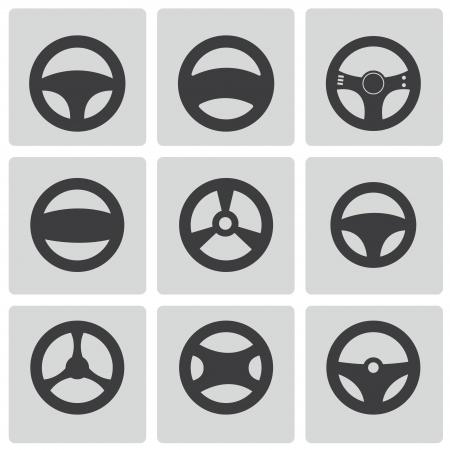 piezas coche: Vector negro VOLANTES iconos conjunto Vectores