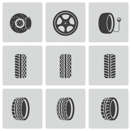 tire shop: Vector black tire icons set