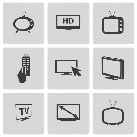 Vector black TV icons set Vector