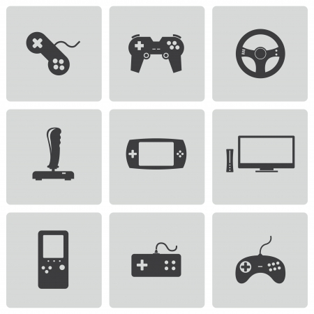 Vector black video game icons set Vector
