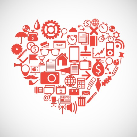 Silhouette of a heart consists of icons Vector