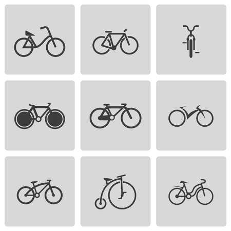 Vector black bicycle icons set Vector
