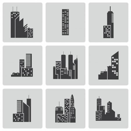 architecture pictogram: Vector black building icons set