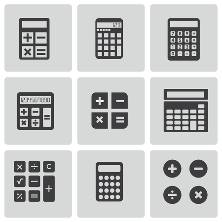 accounting icon: Vector black calculator icons set