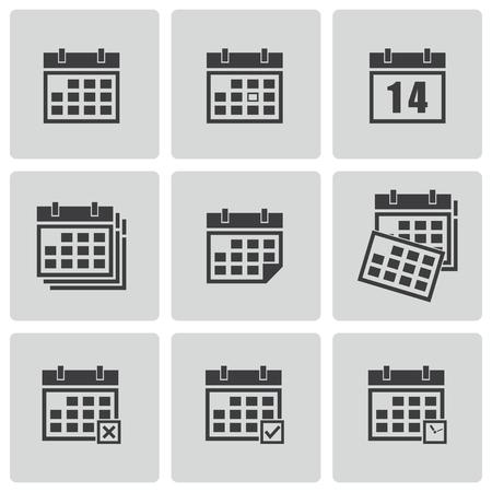 Vector black calendar icons set Vector