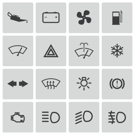 Vector balck car dashboard icons set Vector