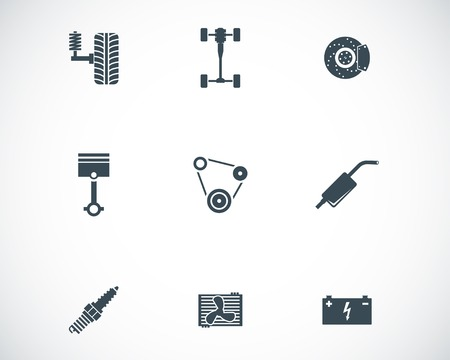 Vector black car parts icons set Vector