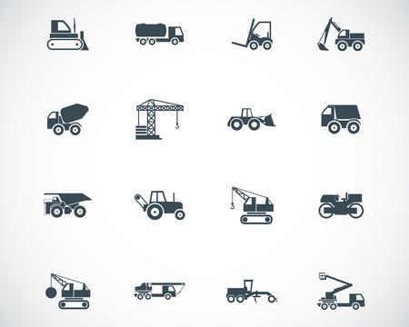 Vecteur noir icônes de transport de construction définies Vecteurs