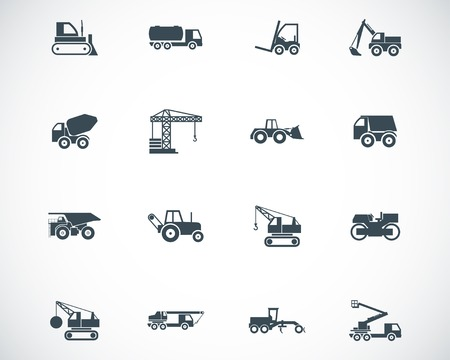 heavy construction: Vector black construction transport icons set Illustration